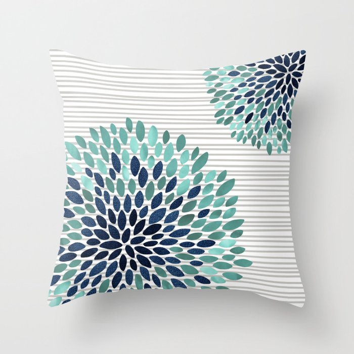 Blooms and Stripes, Aqua and Navy Throw Pillow by meganmorrisart