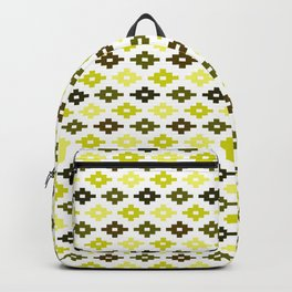 Geometric Flower Cross Stitch Appearance - Yellow On White Backpack