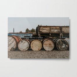 Sturdy wall print of old barrels on a dutch train station   Netherlands from the old times  Metal Print