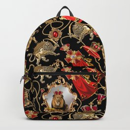 Lion king with royal dynasty objects. Backpack
