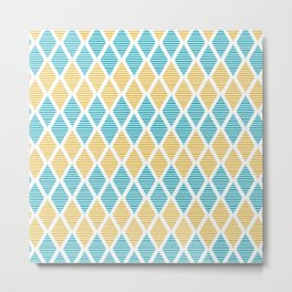 Geometric pattern with striped rhombus in blue and yellow palette Metal Print