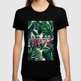 Tropical Nature Monstera Watercolor Painting, Botanical Jungle Dark Palm Illustration T-Shirt