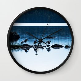 Beautiful Cranes by The Lake - Landscape in Blue hour #decor #society6 #buyart Wall Clock