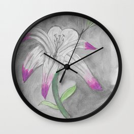 Watercolour lily flower Wall Clock