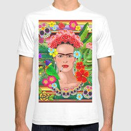 Frida Kahlo Floral Exotic Portrait T-shirt