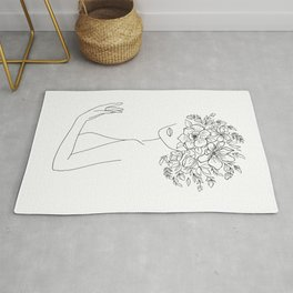 Mysterious Woman With Flowers Minimal Line Art Rug