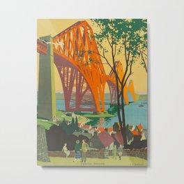 Mid Century Colorful Travel Posters Forth Bridge British Railways Metal Print