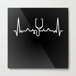 Nurse Doctor Stethoscope Heartbeat Gift Metal Print