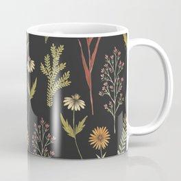 flat lay floral pattern on a dark background Coffee Mug