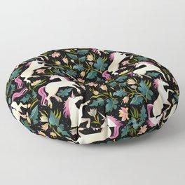 Dancing Unicorns In The Garden Fantasy Tapestry Pattern Floor Pillow