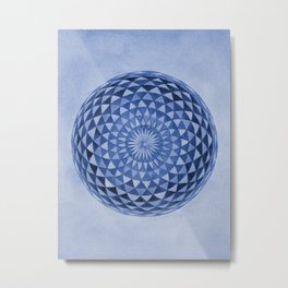 Watercolor Sacred Geometry Blue Mandala Torus Metal Print