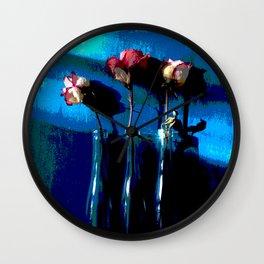 February Blue Series, 3 Roses Wall Clock