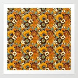 70s Retro Flower Power 60s floral Pattern Orange yellow Blue Art Print