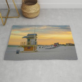 Clearwater Beach Florida Lifeguard Hut Ocean Landscape Tampa Bay Rug