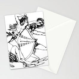 Greek Minoan Griffin Warrior Seal Line-Art Illustration (Black) Stationery Cards