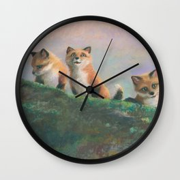 Red Fox Kits First Outing Wall Clock