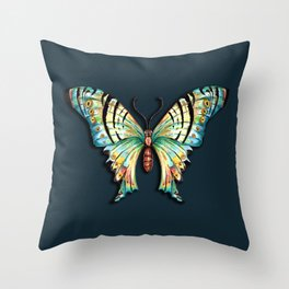 Watercolor Butterfly on Teal Green 1 Throw Pillow