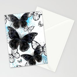Background with Black Butterflies Stationery Cards