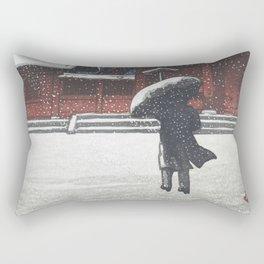 Vintage Japanese Woodblock Print Art - Zojoji Temple In Snow Rectangular Pillow