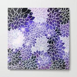 Space Dahlias Indigo Blue Purple Metal Print