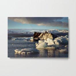 Glacier lake Jokulsarlon basking in golden sunlight Metal Print