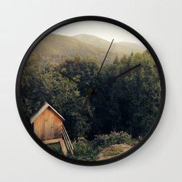 Tiny House In Forest Wall Clock