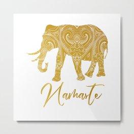 Namaste Golden Elephant Metal Print