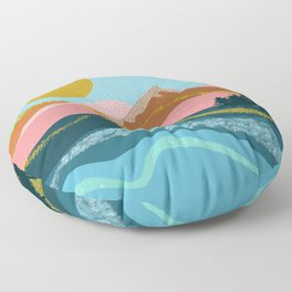 Landscape in blue tones, coral, caramel and gold Floor Pillow