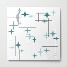 Mid Century Modern Stars (Teal) Metal Print