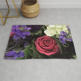 French Lavender and Red Rose Floral Bouquet Rug