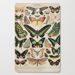 Papillon II Vintage French Butterfly Chart by Adolphe Millot Cutting Board