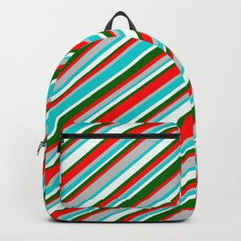 Vibrant Red, Grey, Dark Turquoise, Mint Cream, and Dark Green Colored Striped/Lined Pattern Backpack