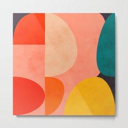 geometry shape mid century organic blush curry teal Metal Print