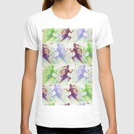 Watercolor women runner pattern Brown green blue T-shirt