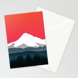 Mount Hood Winter Forest - Sunset Stationery Cards