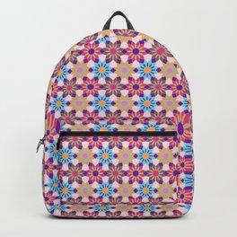Chic Floral Mosaic Pattern Backpack