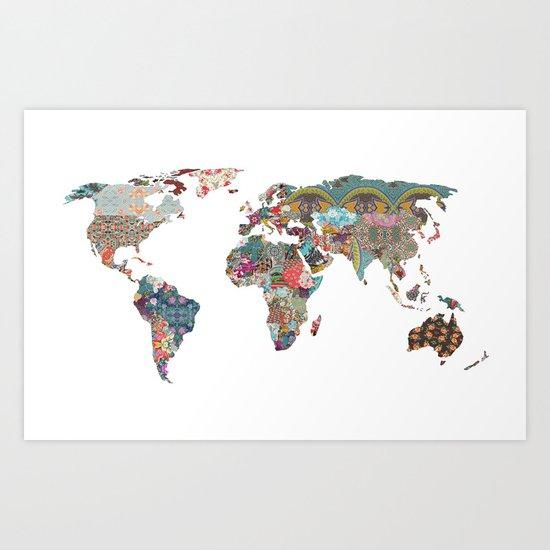 World Map Art Prints Society6