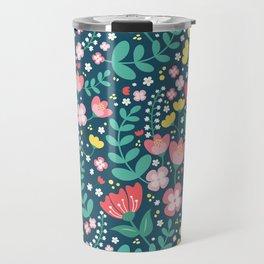Flower Lovers - Dark Blue Travel Mug