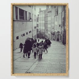 School trip day in Croix-Rousse, Lyon | Street Photography that will make you smile Serving Tray