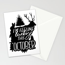 I'm Feeling Lucky This October Deer Rabbit Stationery Cards
