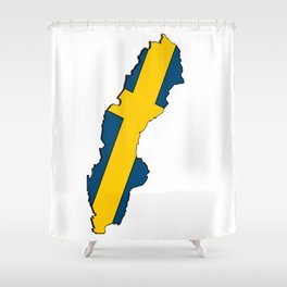 Sweden Map with Swedish Flag Shower Curtain