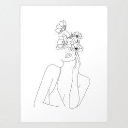 Minimal Line Art Woman with Flowers Kunstdrucke