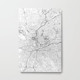 Atlanta White Map Metal Print