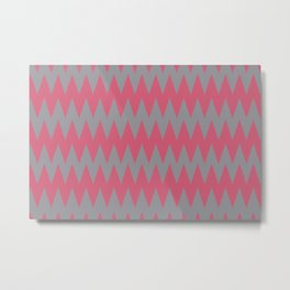 Zigzag Line Pattern Gray and Pink Pantone's Color of the Year 2021 Ultimate Gray and Fruit Dove Metal Print