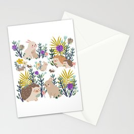Hedgehogs bunnies and mice Stationery Cards