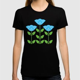 Three Japanese style blue flowers T-shirt