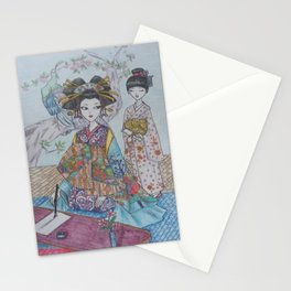 An Oiran and Her Kamuro Stationery Cards