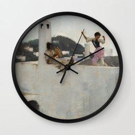 Capri Girl on a Rooftop - John Singer Sargent Wall Clock