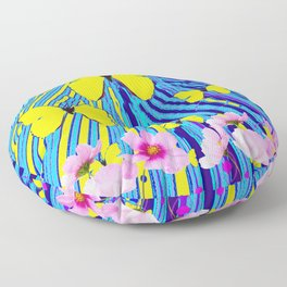 MODERN ART YELLOW BUTTERFLIES PINK FLOWERS BLUE PATTERN Floor Pillow