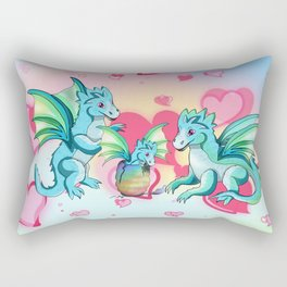Lots of hearts and a cartoon family of dragons Rectangular Pillow